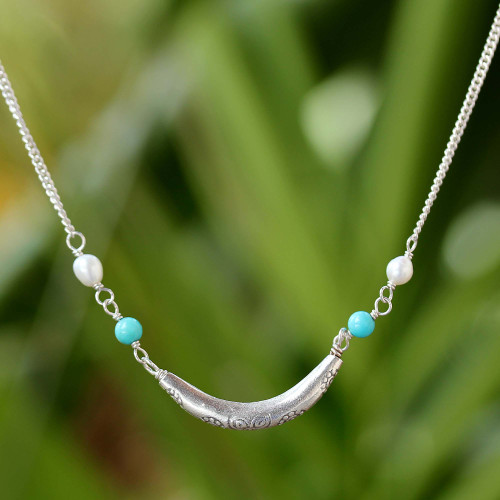 Cultured Pearl and 950 Silver Crescent Thai Necklace 'Charming Crescent'