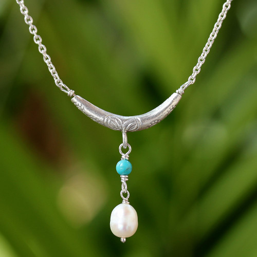 Cultured Pearl and Calcite Pendant Necklace from Thailand 'Moon and Starlight'