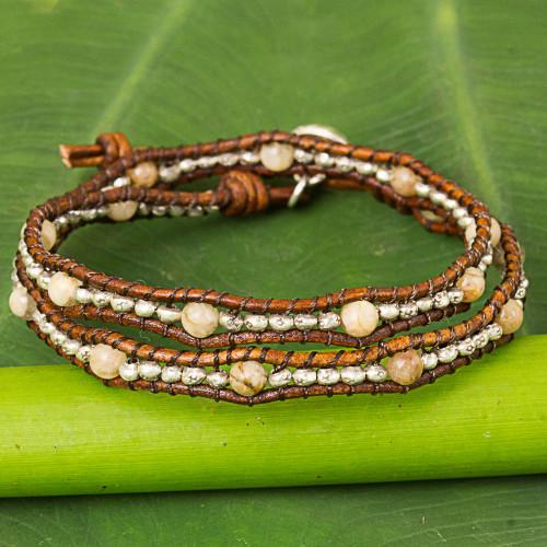 Thai Leather Jasper and Karen Silver Beaded Wrap Bracelet 'Hill Tribe Sunflower'