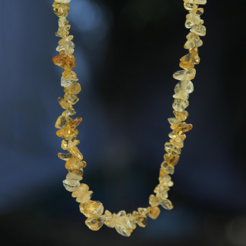 Brazil Artisan Crafted 33-Inch Beaded Citrine Necklace 'Light Caramel'