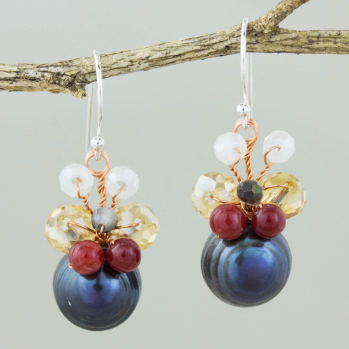 Black Cultured Pearl Dangle Earrings with Butterfly Motif 'Butterfly Party in Black'