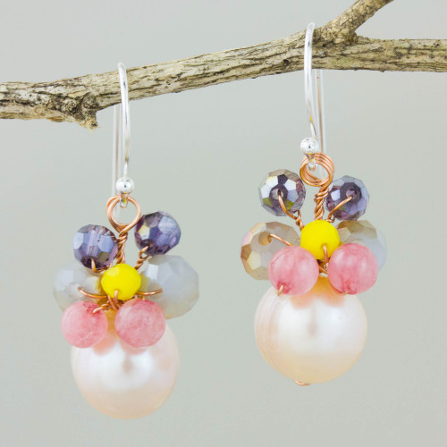 Pink Cultured Pearl Dangle Earrings with Butterfly Motif 'Butterfly Party in Pink'