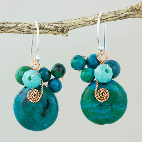 Teal Serpentine and Glass Bead Dangle Earrings with Copper 'Moonlight Garden in Teal'