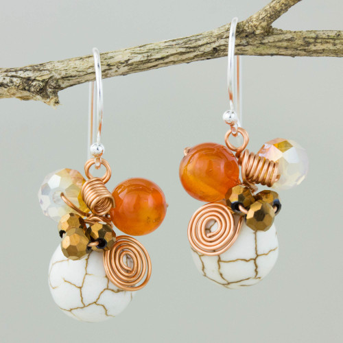 Calcite Carnelian and Glass Bead Dangle Earrings with Copper 'White Bubbles'