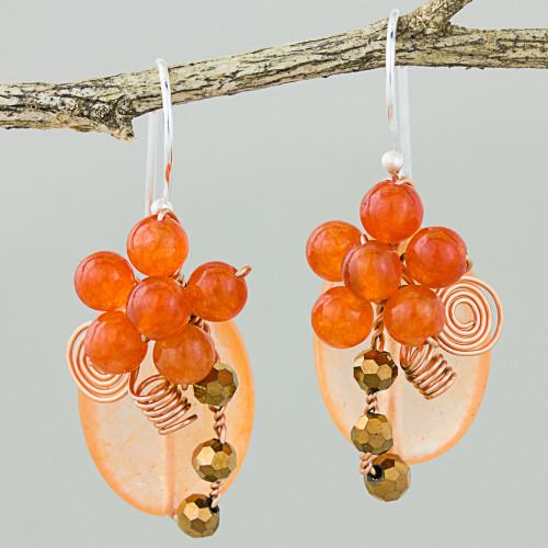 Orange Quartz and Glass Bead Dangle Earrings with Copper 'Garden Bliss in Orange'
