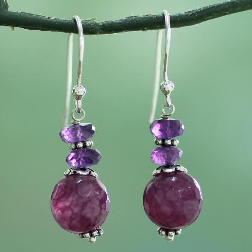 Indian Amethyst Agate and Sterling Silver Dangle Earrings 'Graceful Amethyst'