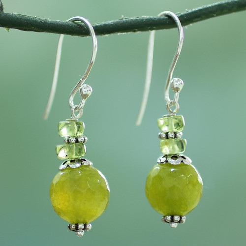Agate Peridot and Sterling Silver Dangle Earrings from India 'Peaceful Green'