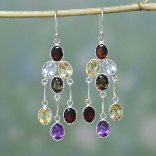 Handcrafted Multigemstone Indian Chandelier Earrings 'Wondrous Colors'