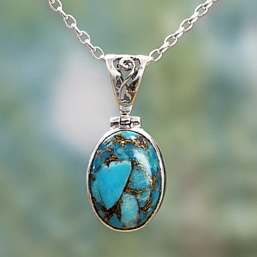 Blue Turquoise Sterling Silver Pendant Necklace India 'Mystical Blue'