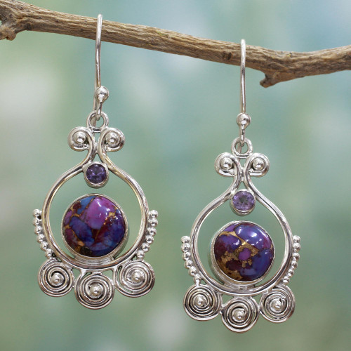 Purple Amethyst Sterling Silver Earrings Handcrafted India 'Exotic Swirls'