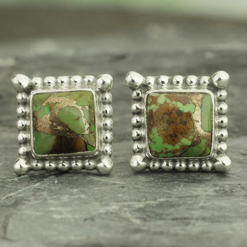 Composite Green Turquoise Stud Earrings Handmade in India 'Magical Green'