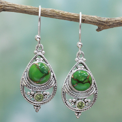 Sterling Silver, Peridot, and Composite Turquoise Earrings 'Green Elegance'