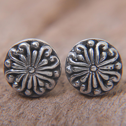 Sterling Silver Round Stud Earrings from Indonesia 'Bali Whirlpool'