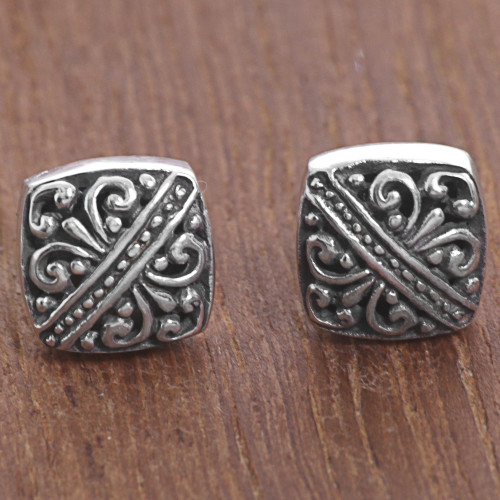 Sterling Silver Square Stud Earrings from Indonesia 'Bali Beauties'