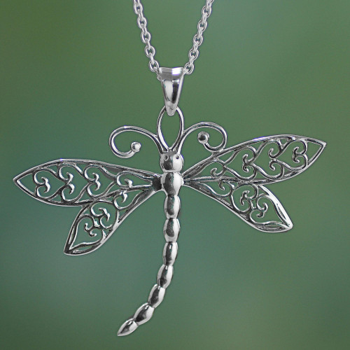 Sterling Silver Dragonfly Pendant Necklace from India 'Dazzling Dragonfly'