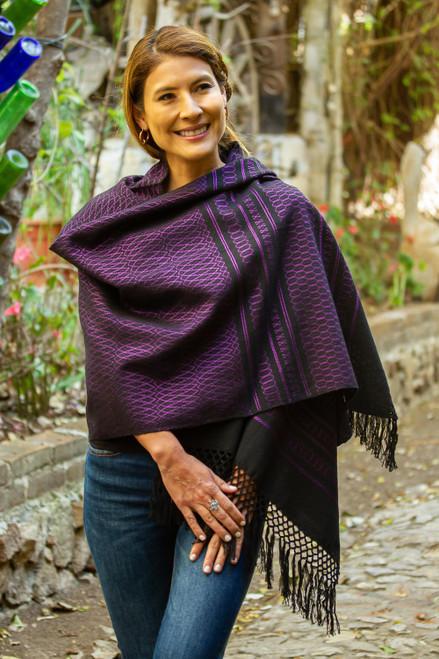 Zapotec Handwoven Black and Purple Rebozo Shawl 'Fiesta in Black and Purple'