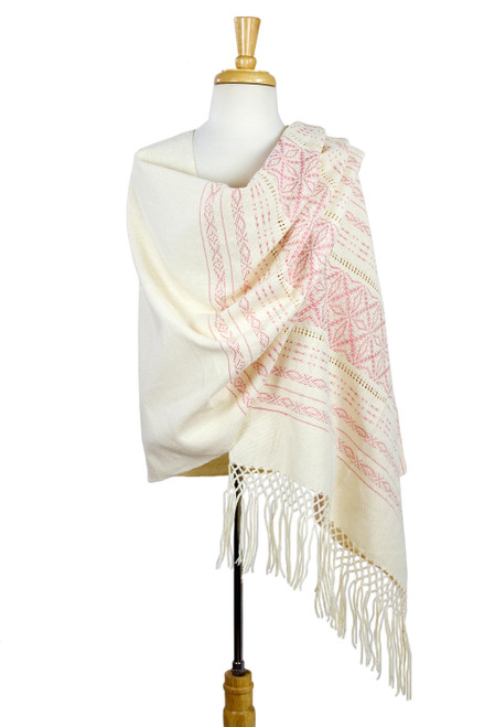 Pink and Creamy Cotton Handwoven Zapotec Shawl 'Pink Stars of Teotitlan'