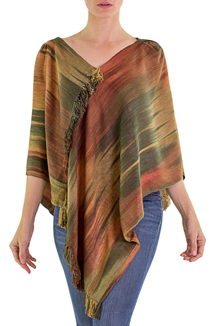 Hand Woven Ginger Rayon Chenille Poncho from Guatemala 'Ethereal Ginger'