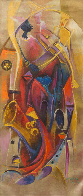 Original Expressionist Painting Musicians from West Africa 'Music Orchestra'