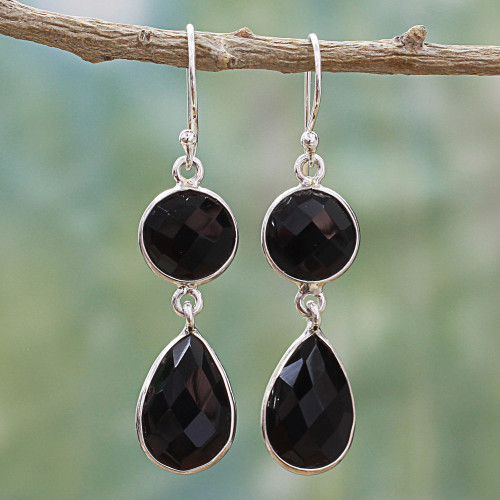 Dual Onyx Gemstone Dangle Earrings with Sterling Silver 'Magical Charm'
