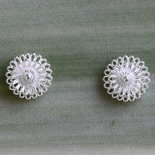 Hand Made Sterling Silver Stud Earrings Floral Thailand 'Zinnia Flowers'