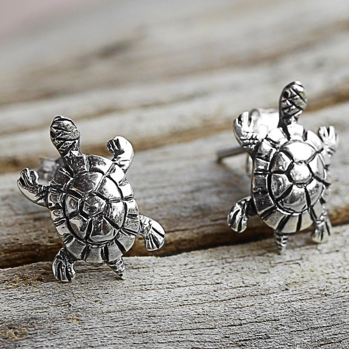 Sterling Silver Button Earrings Turtle Shape from Thailand 'Little Turtles'