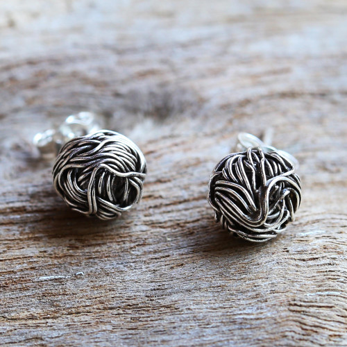 Sterling Silver Stud Earrings Round Shape from Thailand 'Bird Nests'