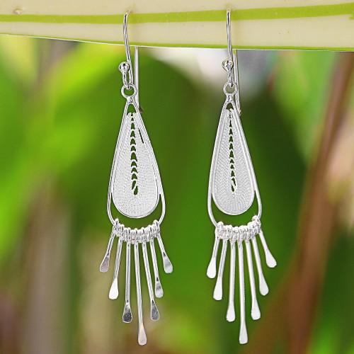 Sterling Silver Drop Filigree Chandelier Earrings Thailand 'Piano Drops'