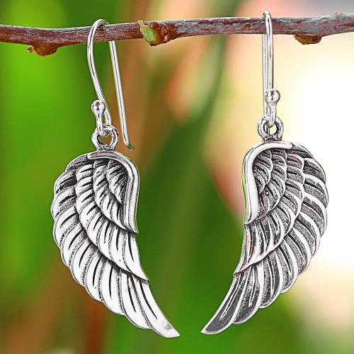 Sterling Silver Wing Dangle Earrings from Thailand 'Loving Wings'