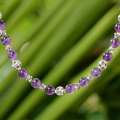 Amethyst and 950 Silver Beaded Necklace from Thailand 'Simple Grace'