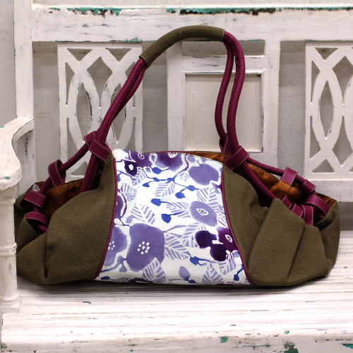 Batik Printed Cotton and Leather Duffel Bag from India 'Flowery Cheer'