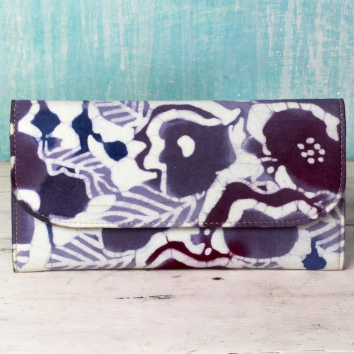 Batik Printed Cotton and Leather Floral Wallet from India 'Flowery Cheer'