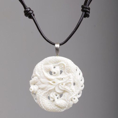 Hand Carved Bone Pendant Necklace Dragon from Indonesia 'Guard Dragon'