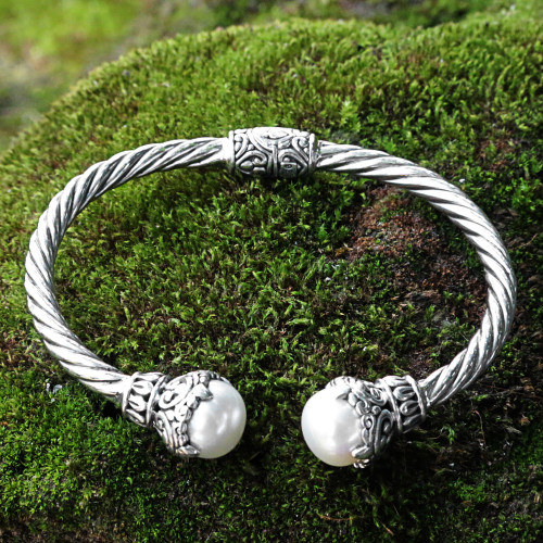 Cultured Pearl Sterling Silver Cuff Bracelet from Indonesia 'Sterling Rope'
