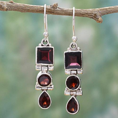Geometric Garnet and Sterling Silver Dangle Earrings 'Radiant Glamour'