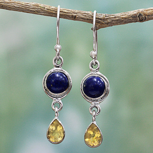 Lapis Lazuli and Citrine Sterling Silver Dangle Earrings 'Drops of Sun'