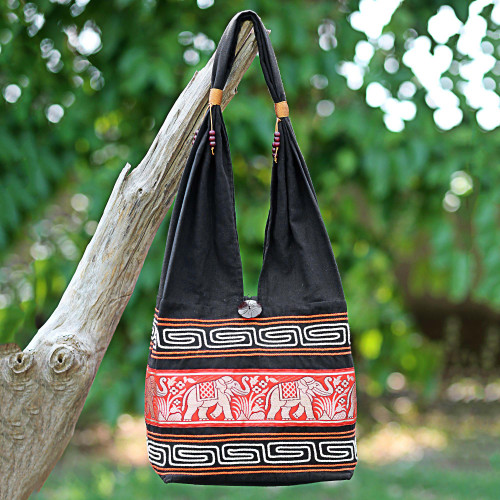 Cotton Blend Shoulder Bag Black Vermilion from Thailand 'Thai Elephants in Vermilion'