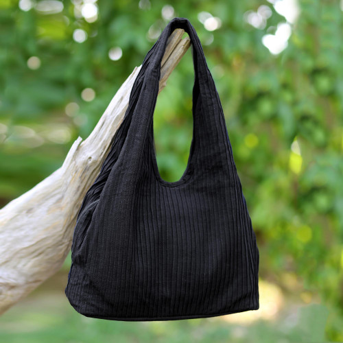 100 Cotton Textured Shoulder Bag in Black from Thailand 'Thai Texture in Black'