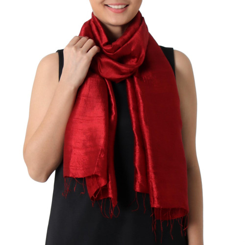 Hand Woven Fringed Silk Scarf in Crimson from Thailand 'Shimmering Crimson'