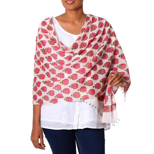 Cotton Shawl with Bisque and Orchid Floral Motifs from India 'Glorious Lotus in Orchid'