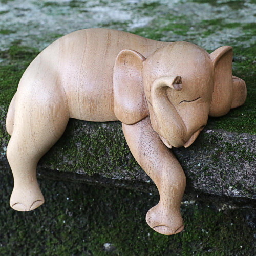 Hand Carved Elephant Sculpture Natural Finish from Indonesia 'Napping Elephant'