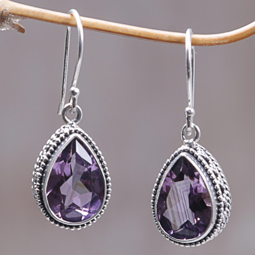 925 Silver Earrings with Amethyst Total 8 Carats from Bali 'Sparkling Dew'