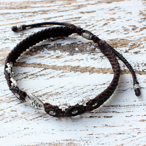 Brown Braided Bracelet with Silver Fish from Thailand 'Little Fish in Brown'
