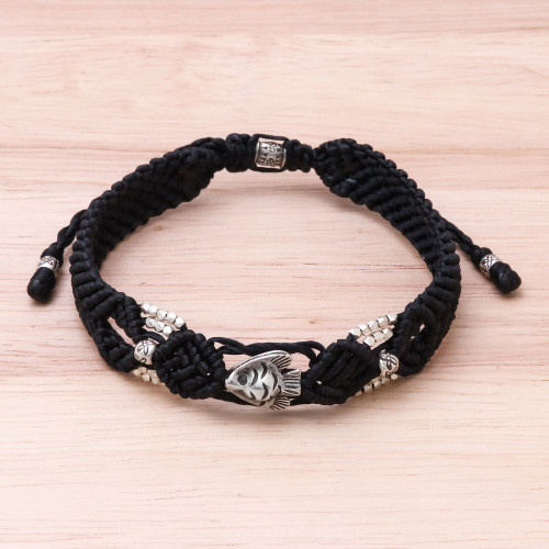 Hand Made Black Braided Bracelet with Silver Fish 'Little Fish in Black'