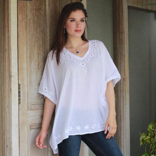 Hand Embroidered Long White Top from Lucknow, India 'Lucknow Flowers in White'