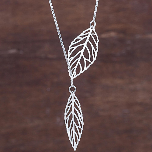 Sterling Silver Pendant Necklace Leaves from Peru 'Shining Leaves'