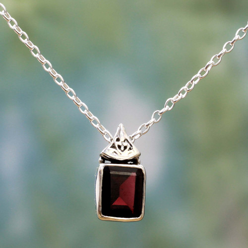 Hand Made Faceted Garnet Pendant Necklace from India 'Indian Grace in Red'