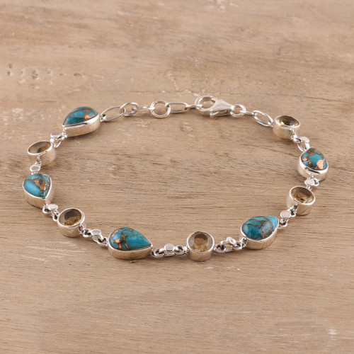 Citrine Composite Turquoise Link Bracelet from India 'Sunny Drops in Blue'