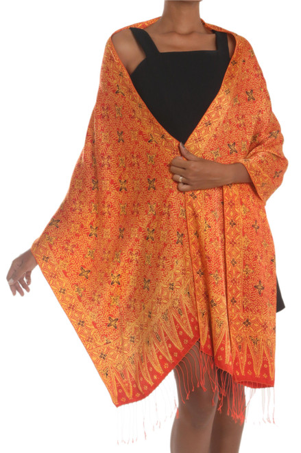 Red and Yellow Hand-Stamped Batik Silk Shawl 'Serene Garden'