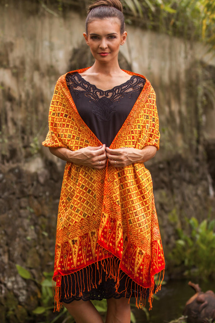 Red, Yellow, and Brown Hand-Stamped Batik Silk Shawl 'Dimensions of Kawung'